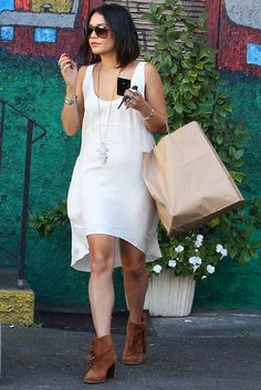How to Wear a Dress with Brown Ankle Boots Wholesale Shoes, Brown Ankle Boots, Vanessa Hudgens, Looks Great, White Dress, Pairs, Celebs, Style Inspiration, How To Wear