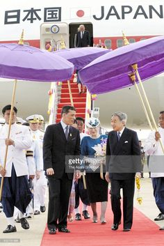 Emperor Akihito and Empress Michiko of Japan are welcomed by Crown Prince Maha Vajiralongkorn of Thailand on arrival at the Don Mueang International Airport on June 2006 in Bangkok, Thailand. Stock Pictures, Stock Photos, Bangkok Thailand, International Airport, King Queen, Emperor, Royalty Free Photos, Prince, June
