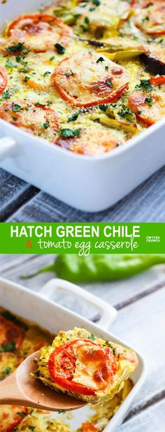 Hatch Green Chile and Tomato Casserole! A healthy gluten free casserole with the fresh taste of hatch green chiles and tomatoes make for a super easy and quick dinner recipe. Great for vegetarians or just add meat for those hungry carnivores. #recipe on cottercrunch.com