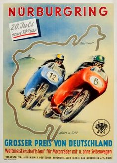 Nurburgring German GP Motorcycle, 1955 - original vintage poster listed on AntikBar.co.uk