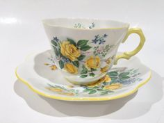 Antique Rosina Tea Cup and Saucer Tea Set Bone