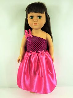 18 Girl Doll Clothes Pink Satin Sequin Doll by sassydollcreations