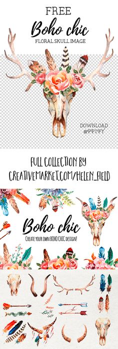 Featured Designer: Helen Field + Free Boho Chic Floral Skull Image | Free Pretty Things for You
