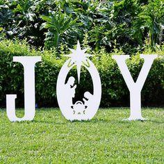Christmas Joy Yard Sign | Christmas Joy Nativity Yard Sign Silhouette by Teak Isle - American Sale