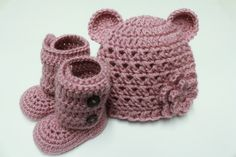 Croceted Baby Teddy Bear Beanie with flower and by JCrochetShop, $35.99