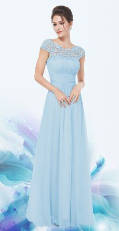 Baby Blue Lacey Neckline Ruched Bust Evening Dress