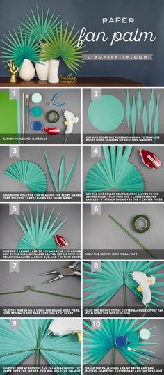Create Your Own Large Paper Fan Palm for Summer - Paper Craft Ideas Paper Flowers Diy, Flower Crafts, Crochet Flowers, Crochet Leaves, Flower Diy, Summer Crafts, Diy And Crafts, Diy Paper Crafts, Diy Crafts Step By Step