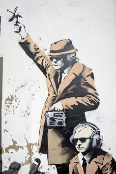 Banksy's New Mural, Quip Agents of Government Spying On A Phone Booth