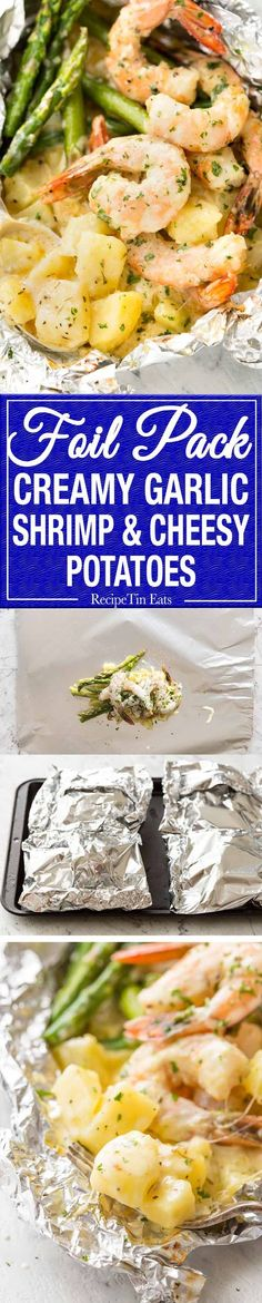 """Creamy Garlic Prawns (Shrimp) and Cheesy Potatoes Foil Packets Dinner Recipe