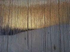 David Grossmann, Before the Sun Came Through the Trees, oil on panel.