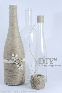 Bottle decorated with String / Twining