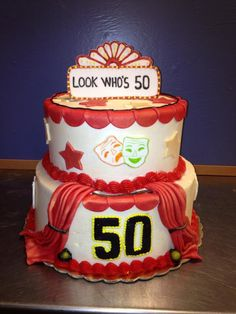 50 Year Birthday cake for an actor / movie buff.  Curtains are made with fondant as are all the decorative features.  Sweet Whimsy - $145