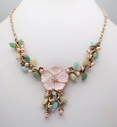 Whitney Kelly Pearls & Jade Sterling Silver Bib Mother of Pearl Flower Necklace $89