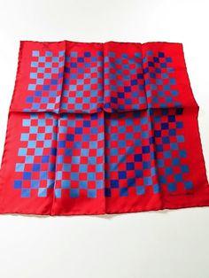 Turnbull & Asser silk pocket square red blue checkerboard - Tweedmans Vintage