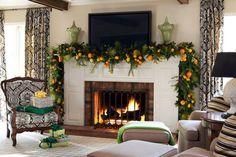 déco Noël originale: manteau cheminée décoré d'agrumes