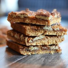 Tasty pecan bars with a shortbread crust and a pecan maple syrup layer that tastes like caramel. Low FODMAP, gluten-free and lactose-free.