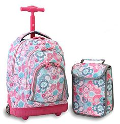 J World New York Lollipop Kids  Rolling Backpack with Lunch Bag 273413218b885