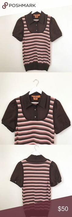 Tory Burch Striped Layered Knitted Vest Shirt This listing is for a gorgeous vest and blouse combo by Tory Burch. The chocolate brown 100% silk blouse features butted cap sleeves and a button up neckline. The knitted vest features a multicolored/Earth tone combination that makes this piece a perfect piece for fall.  This top is in excellent pre-owned condition is free from significant signs of wear. Gently worn. Dry clean only. 🚫 trades! Tory Burch Tops Tees - Short Sleeve