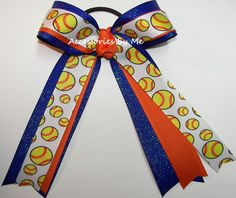 Items similar to Softball Hair Bow, Gators Ponytail Holder, Orange Royal Blue Glitter Softball Bows, Team Spirit Cheap Bow, Glittery Florida Softball Hairbow on Etsy Softball Hair Bows, Softball Shirts, Softball Cheers, Softball Stuff, Softball Crafts, Volleyball Gifts, Volleyball Quotes, Golf Quotes, Pixie Cut Round Face