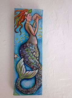 "Original mermaid art 3""x9"" unique bathroom art on canvas Mermaid painting"