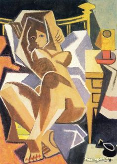 Reclining Nude Artwork by Jean Metzinger Hand-painted and Art Prints on canvas for sale,you can custom the size and frame