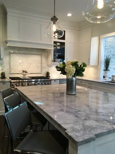 Elegant White Cabinets and Granite Countertops