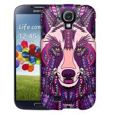 Samsung Galaxy S4 Aztec Wolf Head Purple Trans Case