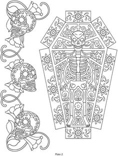 Day of the Dead, dia de los muertos, Sugar Skull, Coloring pages colouring adult detailed advanced printable Kleuren voor volwassenen coloriage pour adulte anti-stress kleurplaat voor volwassenen Line Art Black and White Welcome to Dover Publications Adult Coloring Pages, Colouring Pages, Printable Coloring Pages, Coloring Sheets, Coloring Books, Free Coloring, Crewel Embroidery, Embroidery Patterns, Embroidery Books