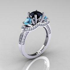 French 14K White Gold Three Stone Black Diamond Blue Topaz Diamond Engagement Ring Wedding Ring R182-14KWGDBTBD