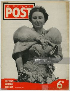 The cover of the February 1952 issue of Picture Post magazine featuring a photo of Queen Elizabeth The Queen Mother . This issue was published ten days after the death of King George VI. Get premium, high resolution news photos at Getty Images Magazine Pictures, Queen Mother, King George, British Royals, Queen Elizabeth, English Royalty, Cover, Announcement, Magazines