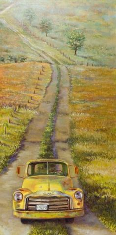 Wendy Marquis Mail Art, Art Boards, Old Trucks, Vintage Trucks, Watercolor Art, Country Art, Country Roads, Collages, Brooch Pin
