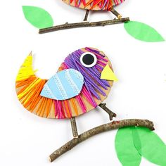 Kids can practice their fine motor skills and use recycled materials to make this easy Yarn Wrapped Bird Craft. A fun craft idea for kids!