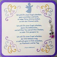 """Gastgeschenk / Glücksbringer Engelskarte mit Engels-Anhänger  Doppelkarte mit Fadengrafik und Spruch """"Ich will Dir einen Engel schenken..."""" Format 13,5 x 13,5 cm mit Engelchen-Anhänger (aus..."""