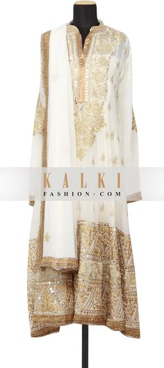 Buy Online from the link below. We ship worldwide (Free Shipping over US$100)  http://www.kalkifashion.com/featuring-a-georgette-off-white-anarkali-semi-stitched-embellished-in-zari-and-mirror-work-only-on-kalki.html