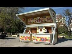 Mobile, portable container bar - kiosk. 100% custom designed and manufactured. Self hydraulic opening system operated from 12V battery or 110-220V. Several t...