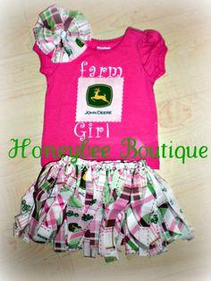 Adorable John Deere custom made outfit. Elastic fabric tutu,personalized shirt & matching fabric flower. <3