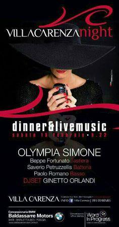 Live Music Con Olympia Simone Quartet e Dj Set con Ginetto Orlandi sabato 15 Febbraio 2014 presso Villa Carenza a #Monopoli (Ba).
