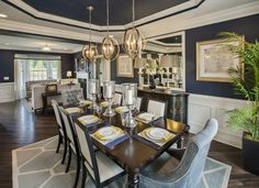 Greet guests in this regal dining room from the luxurious Weyhill Estates at Upper Saucon, Elkton Williamsburg model home in Center Valley, Pa.