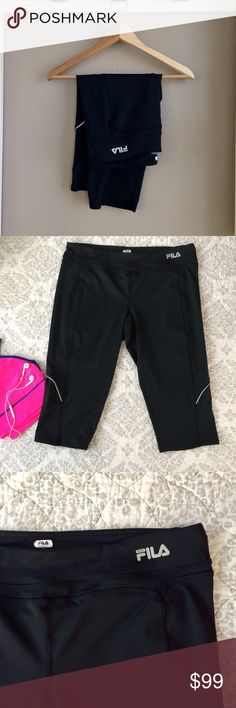 """L Fila Sport Capri Pants L Fila Sport Cropped Pants. Black with white trim. Nylon stretchy fabric, shorter length. Fall just below knee on my 5'5"""" frame. Perfect for the gym! I can't be the only one who Resolved to be more fit?! Very good condition, show some minimal signs of wash and wear. Bundle for additional discounts and seller offers. Careful packaging, fast shipping. Fila Pants"""