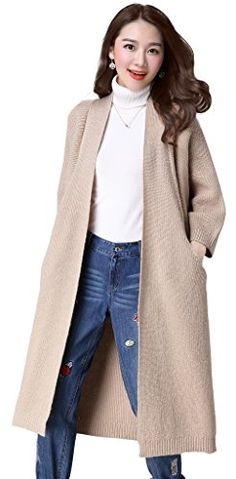 KUBITU Womens Shawl Collar Pocket Open Front Wool Long Cardigan Sweater Coat Large Khaki >>> Find out more about the great product at the image link.