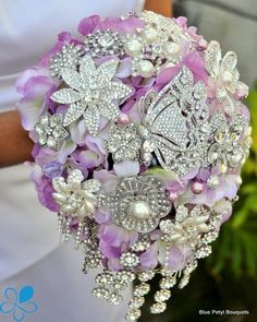 Lavender Cascading Crystal Bouquet another way to do your bouquets differently
