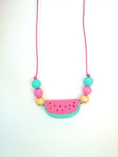 Items similar to wooden WATERMELON necklace - pink mint painted wooden beads girls kids summer on Etsy Toddler Jewelry, Kids Jewelry, Cute Jewelry, Jewelry Art, Beaded Jewelry, Beaded Necklace, Jewellery, Polymer Clay Kawaii, Polymer Clay Jewelry