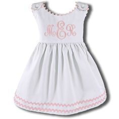 We love these super preppy monogrammed pique dresses with white light pink ric rac trim. Shop all of our Children's Boutique Clothing that can be monogrammed. Toddler Dress, Toddler Outfits, Kids Outfits, Little Girl Dresses, Little Girls, Girls Dresses, Baby Girls, Smocking, Preppy Monogram