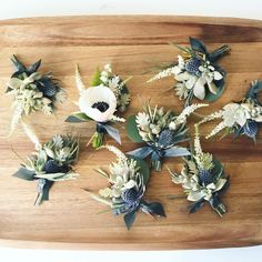Dusty blue and white boutonnieres. Boutonnière inspiration - Green Bee Floral Designs Button hole ideas for a rustic vintage outdoor groom at his creative wedding wedding Boutonnieres, Anemone Bouquet, Anemone Flower, Blue Bouquet, Wedding Boutonniere, Anemones, Groomsmen Boutonniere, Lily Of The Valley, Wedding Bouquets