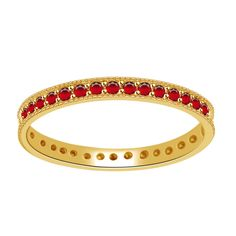 0.33ct Round Cut Ruby 10k Yellow Solid Gold Eternity Band + Black Diamond #AFFINITYHOMESHOPPING #EternityBand