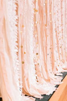 photo backdrop - gold circles, fringed pink fabric  for back of photo booth- could be black sheet with ribbons and sequins draped