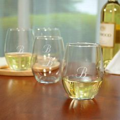 Monogrammed Stemless Wine Glasses Gift Set by Beau-coup