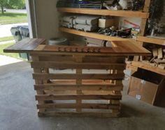This listing is for a beautiful, one of a kind, hand-built, pallet bar. It features a gorgeous top design of varying stains and aging from reclaimed wood. It has shelves for all your bar essentials, and a recessed bartending area. The top can feature any customization you like, including holes for ice buckets, cocktail garnishes, lights and more. This one features a full set of lights attached to middle shelf (not included unless specified). Can be weatherproofed for outdoor use! This bar is…