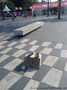 This could be the best pitch for money from a street performer I've ever seen.