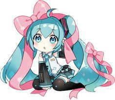Chibi girl (Miku Hatsune/Hatsune Miku from Vocaloid) Vocaloid, Hatsune Miku Chibi, Chibi Kawaii, Cute Anime Chibi, Kawaii Anime, Manga Anime, Anime Art, Miku Chan, Mikuo